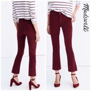 Madewell Cali Demi-Boot Red Velvet Jeans